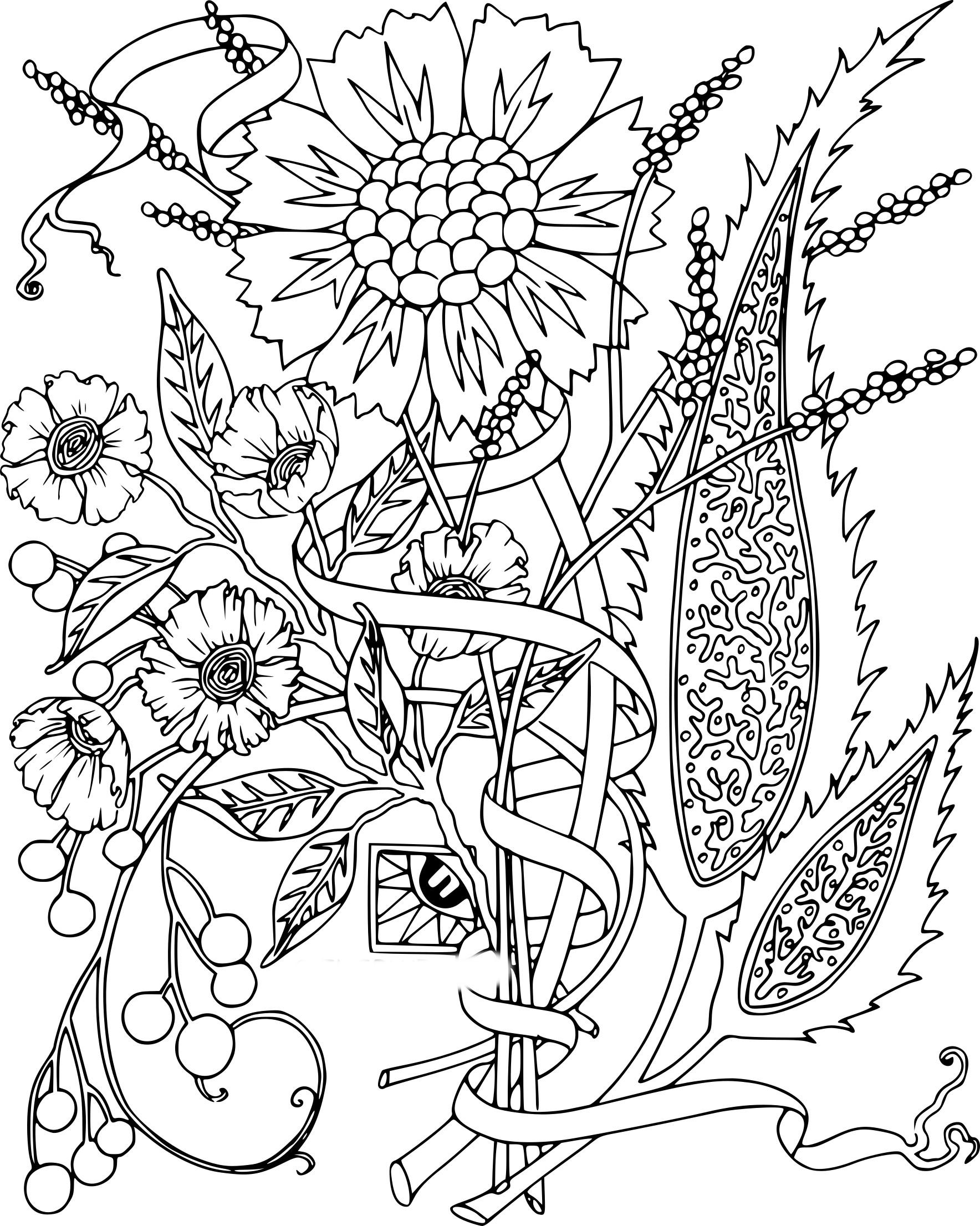Coloriage fleur adulte