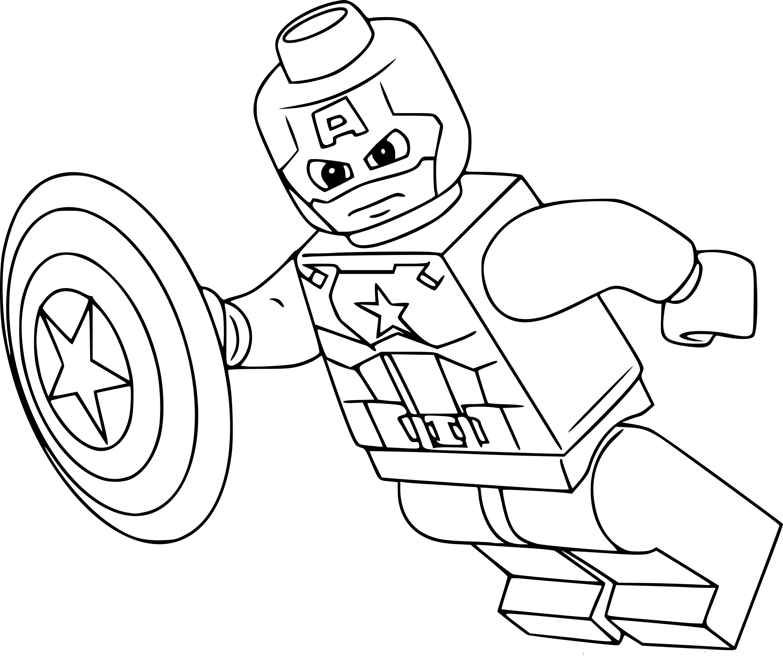 Coloriage Lego Capitaine America à Imprimer