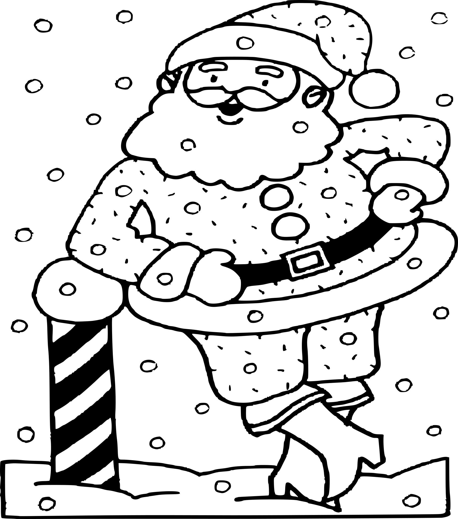 Coloriage Pere Noel et la neige