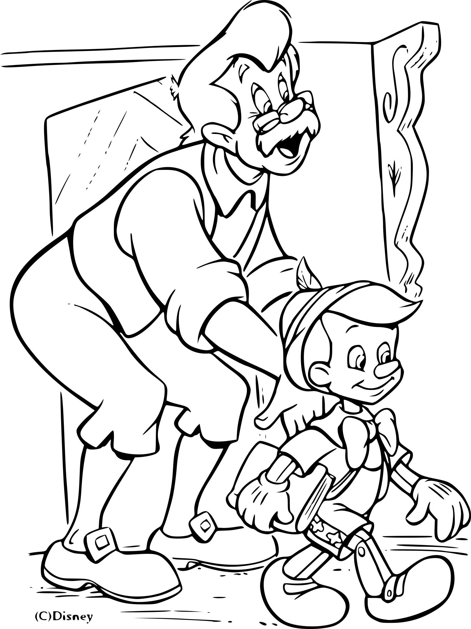 Coloriage Pinocchio Geppetto