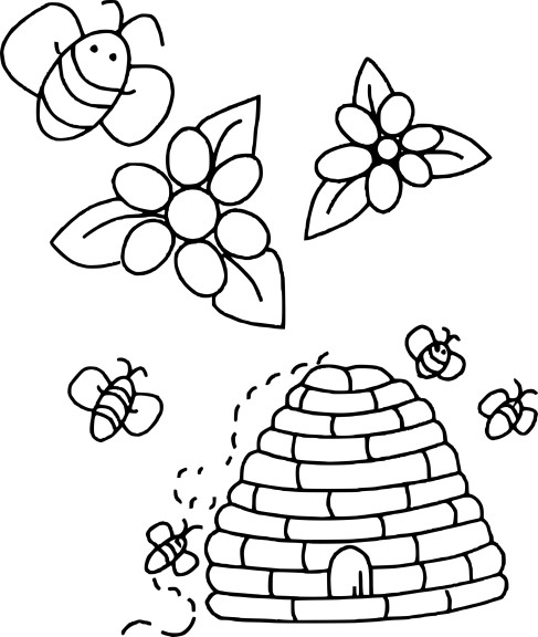 Coloriage ruche abeille