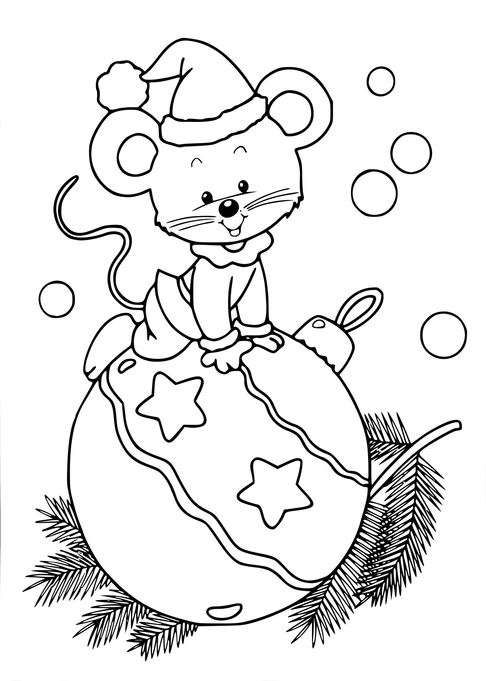 Coloriage souris boule de Noel