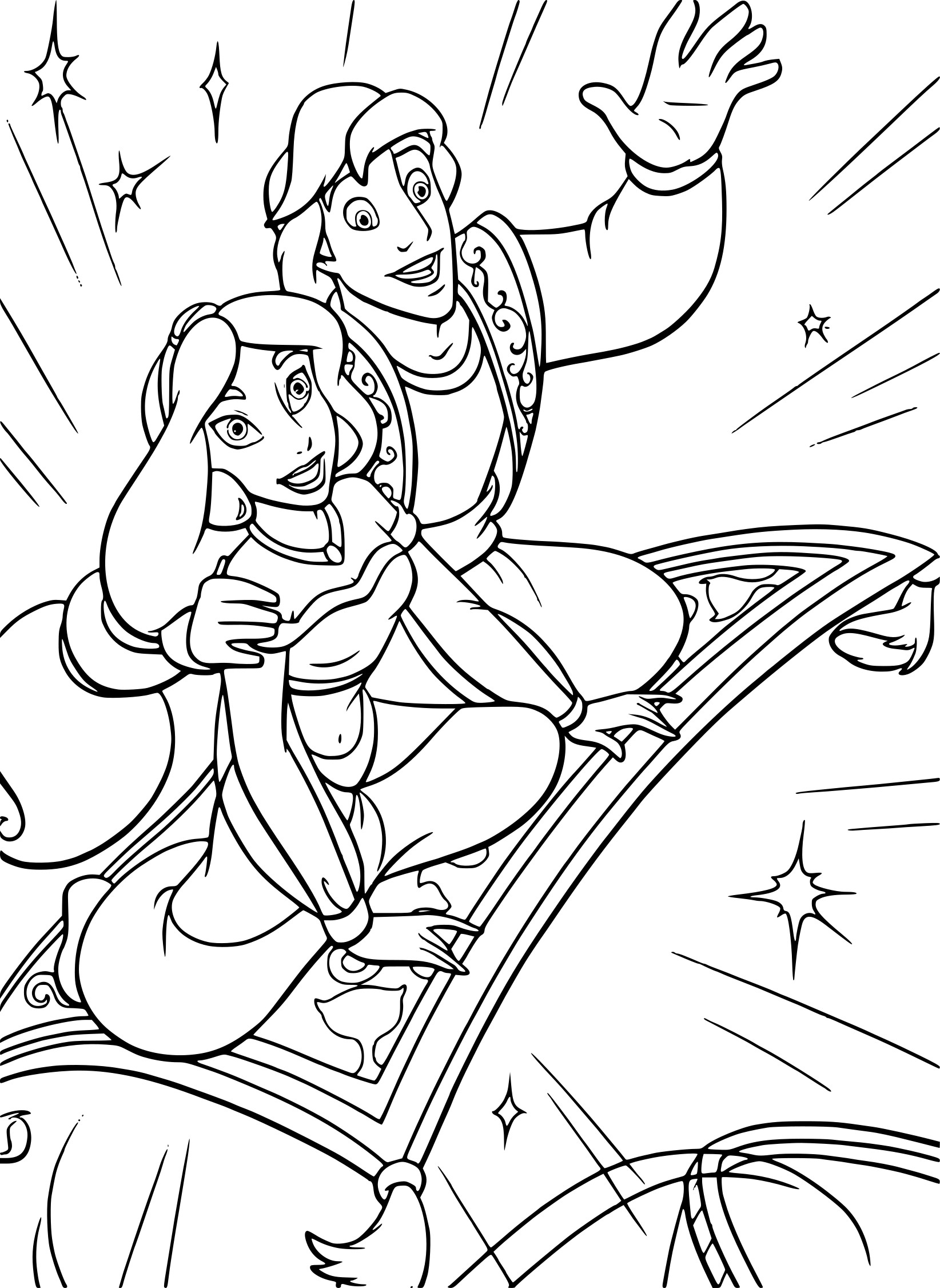 Jasmine et Aladdin coloriage