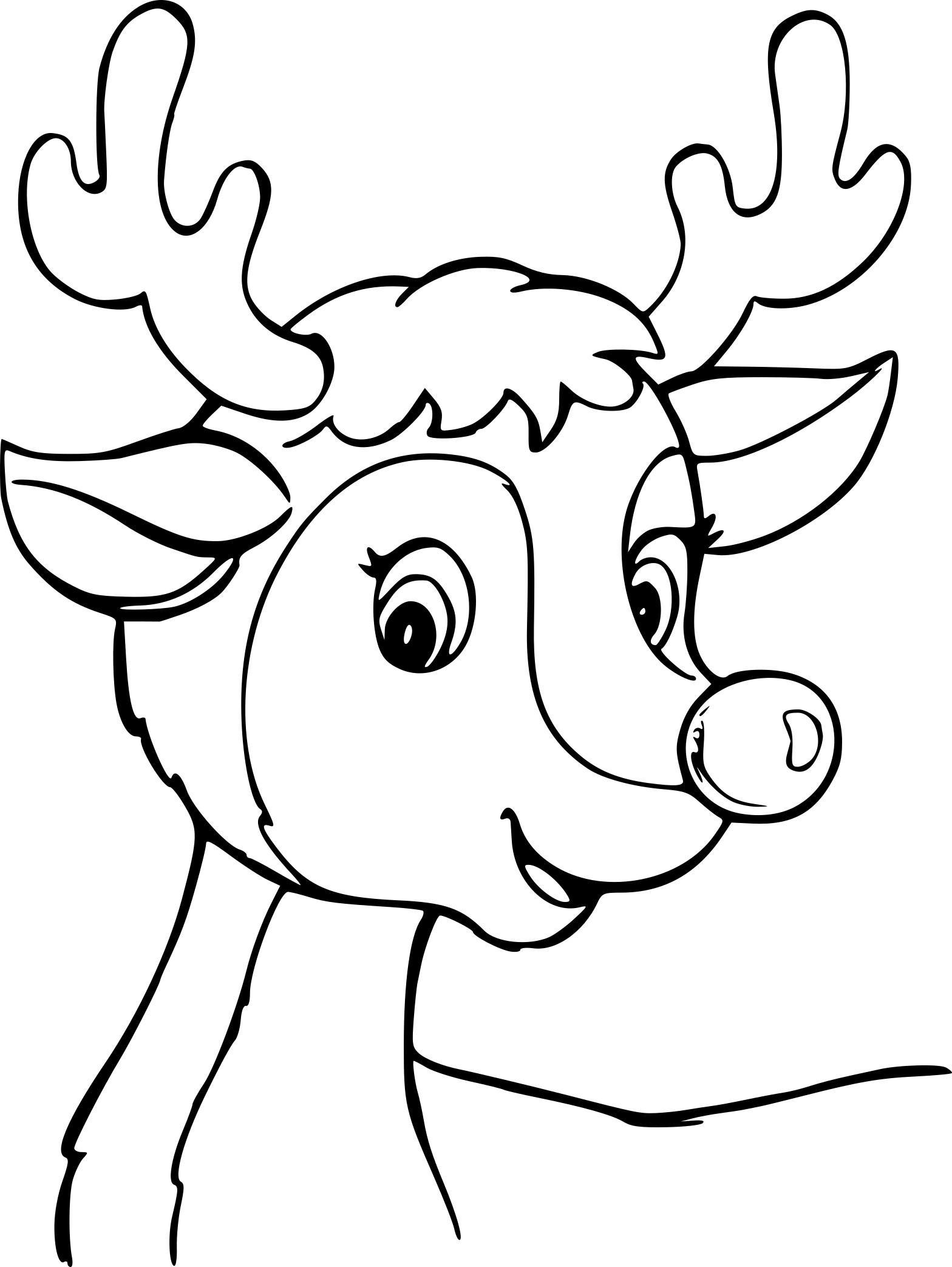 Coloriage cerf de Noel gratuit à imprimer