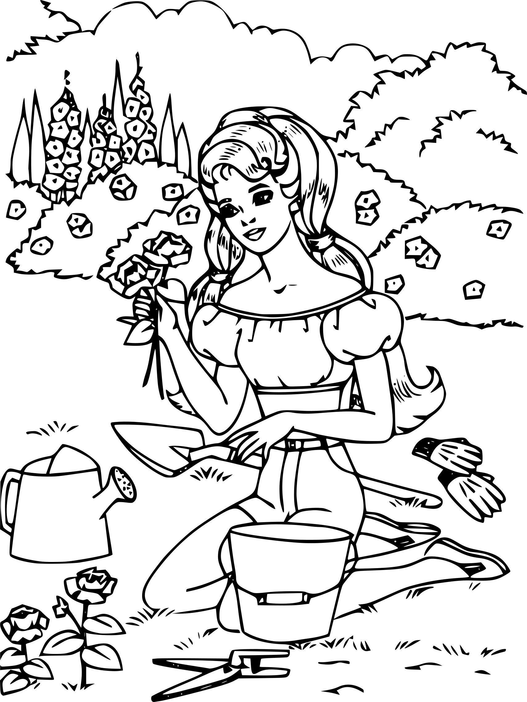 Coloriage Barbie cueille des fleurs