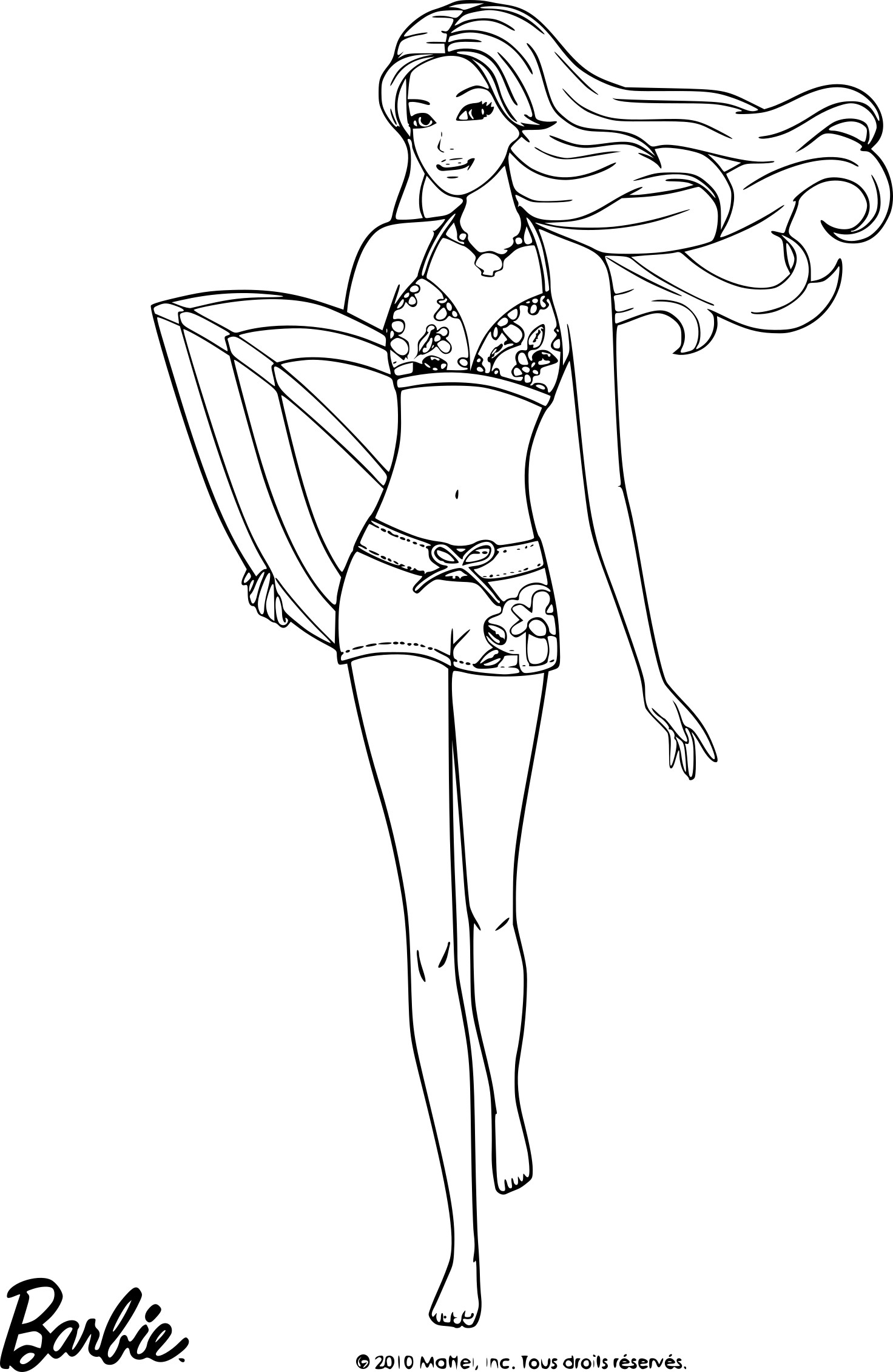 Coloriage Barbie plage