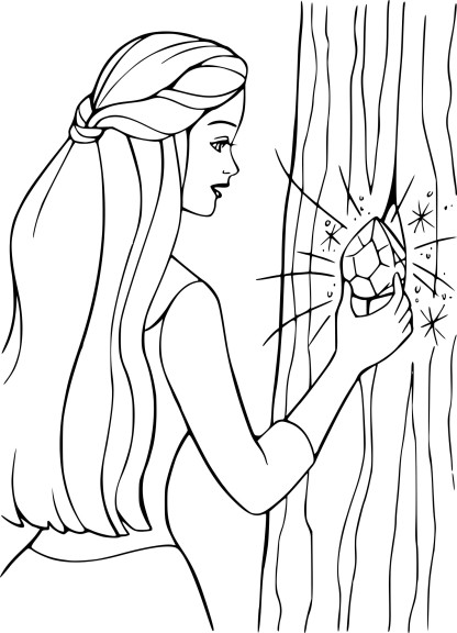 Coloriage Barbie queue de cheval