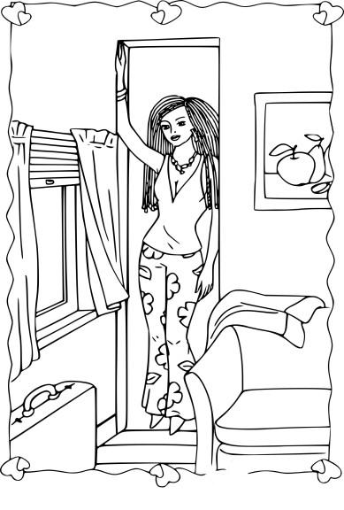Coloriage fille dans le salon