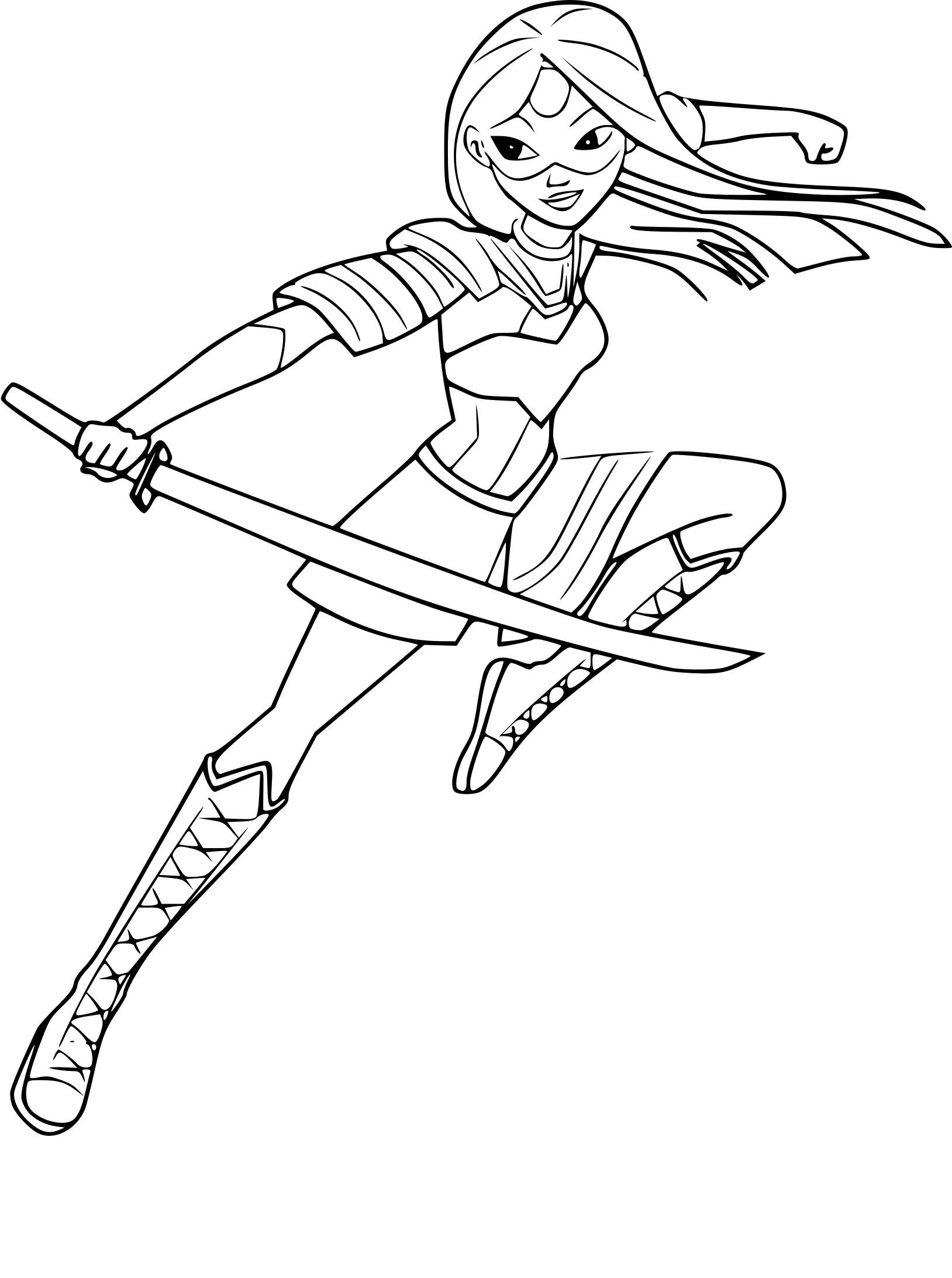 Coloriage Katana Super Héroïne à Imprimer