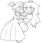 Coloriage Mario et Peach