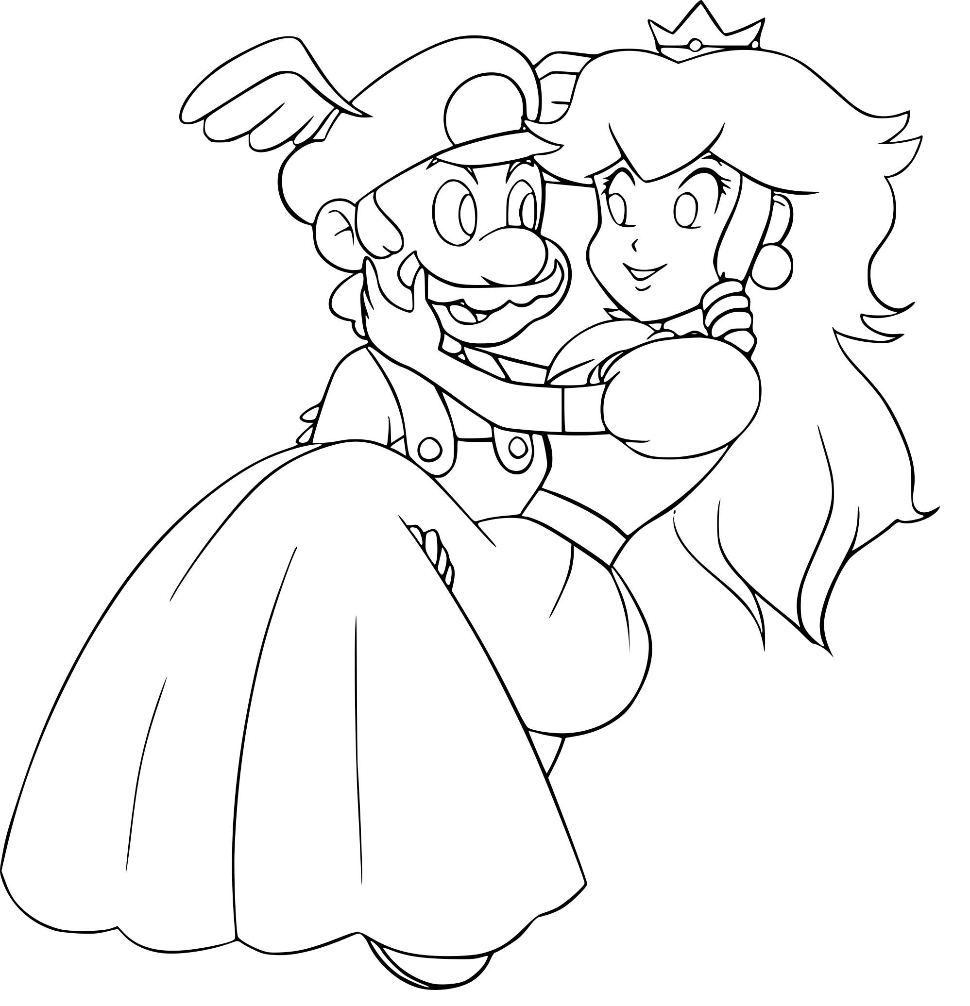 Coloriage Mario Et Peach A Imprimer