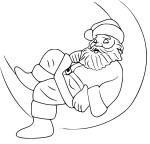 Coloriage Pere Noel sur la lune