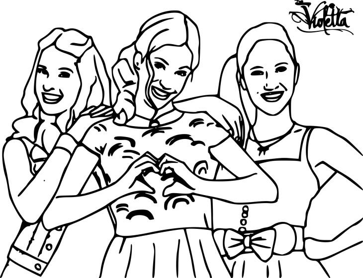 Coloriage Violetta avec ses amies à imprimer