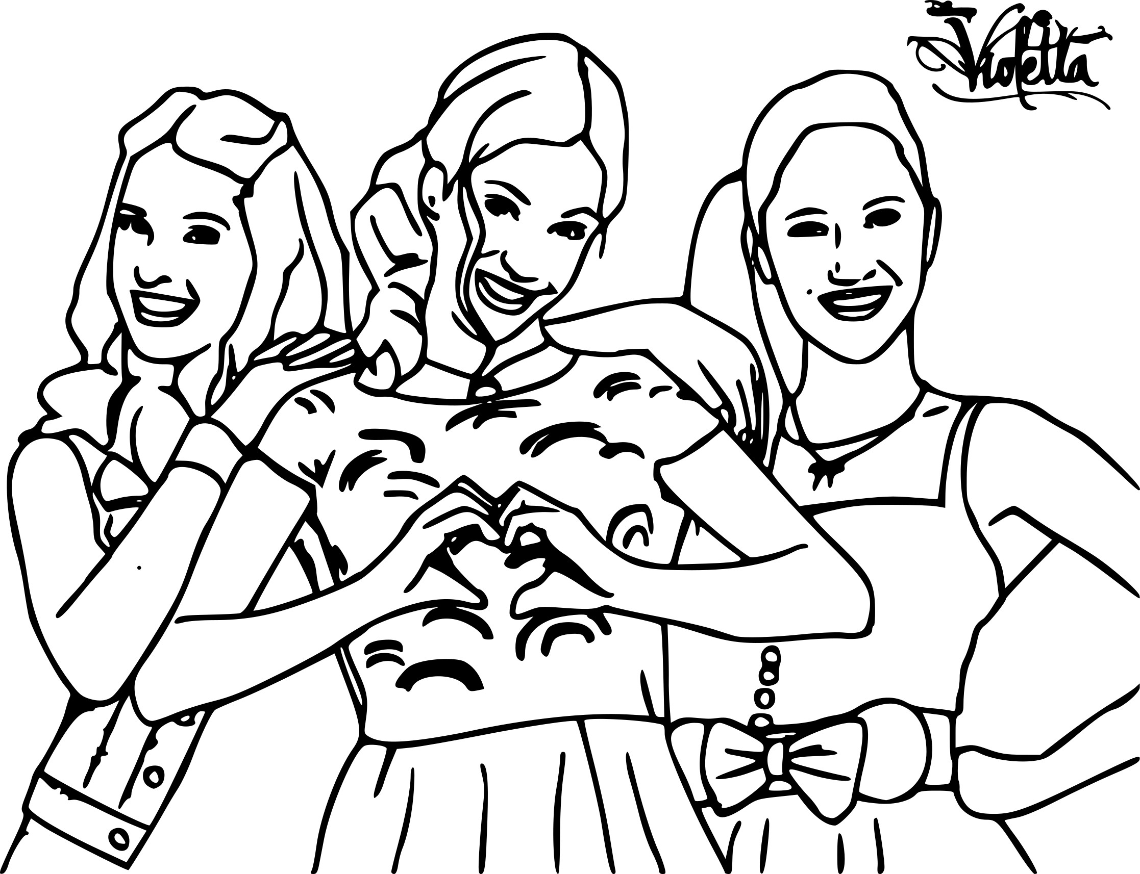 Coloriage Violetta avec ses amies