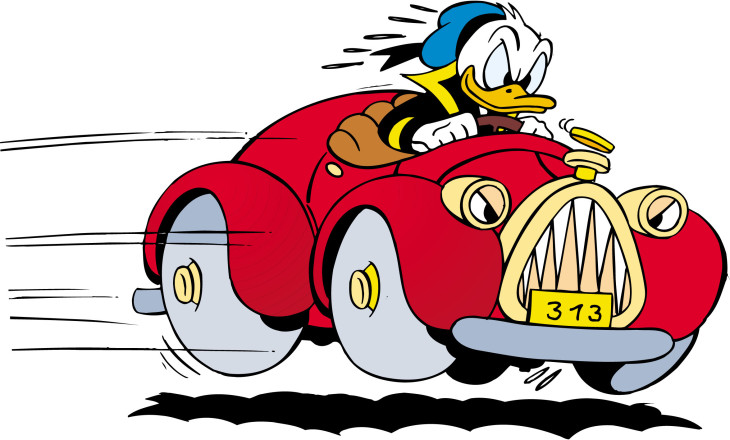 Donald en voiture