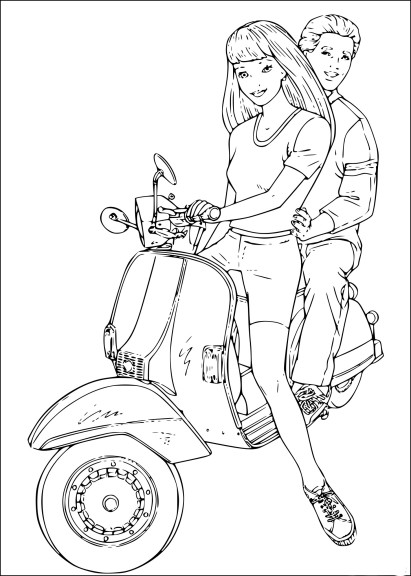 Coloriage Barbie en scooter