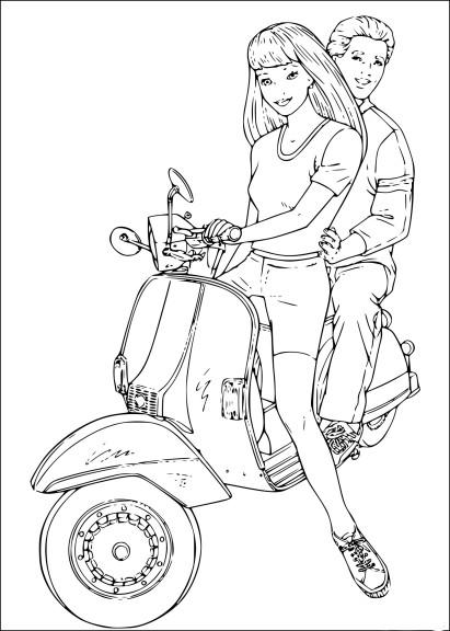 Coloriage Barbie en scooter