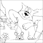 Coloriage chat contre souris