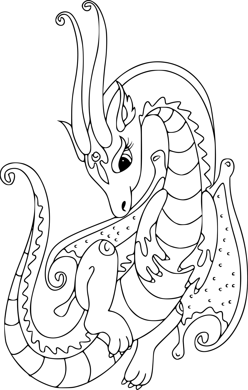 Coloriage dragon pour fille à imprimer