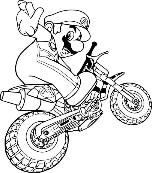 Coloriage moto Mario