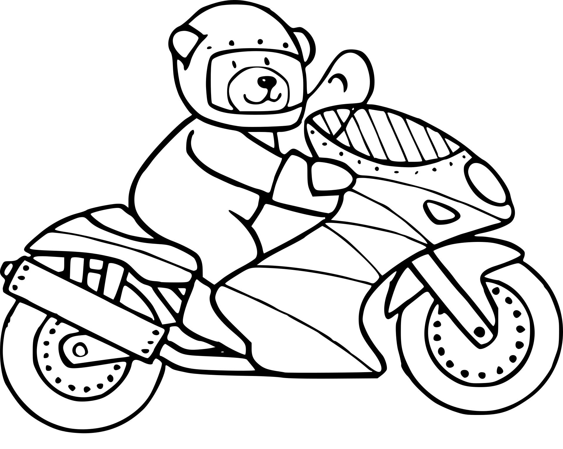 Coloriage ours en moto à imprimer