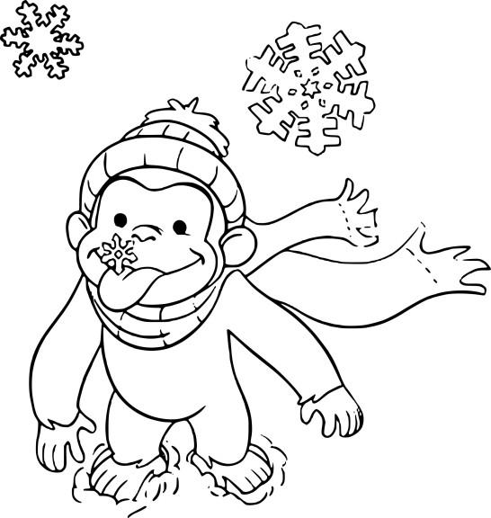 Coloriage singe et flocon de neige