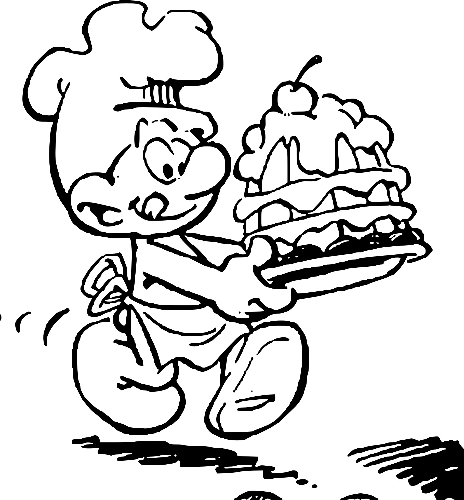 Coloriage Schtroumpf cuisinier