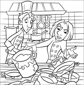 Coloriage Alfredo Linguini et Colette