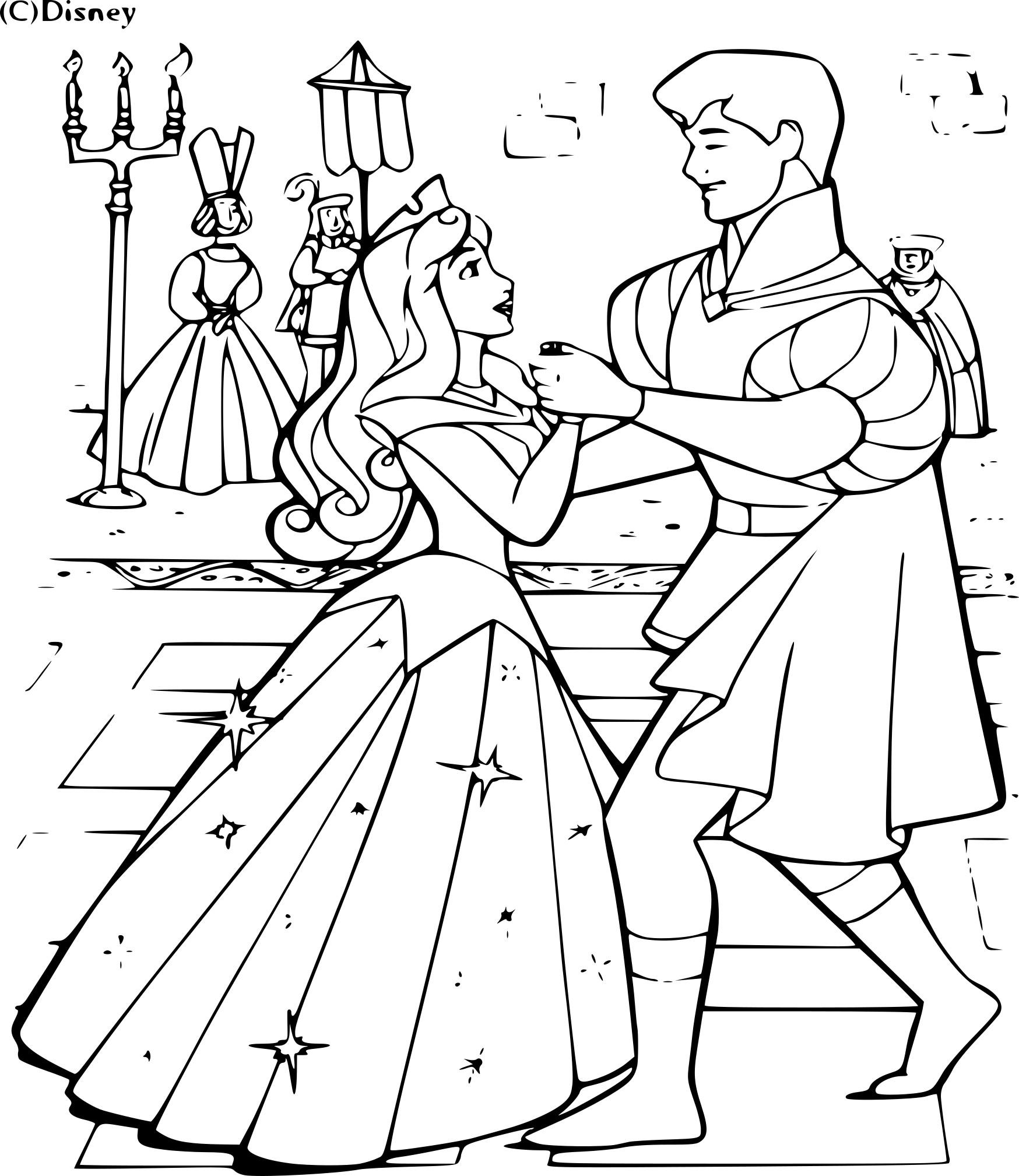 Coloriage aurore et le prince imprimer - Prince et princesse dessin ...