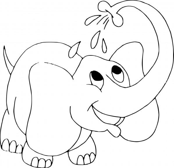 Coloriage Bébé éléphant arrose