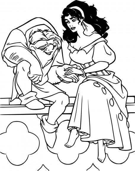 Coloriage Quasimodo et Esmeralda