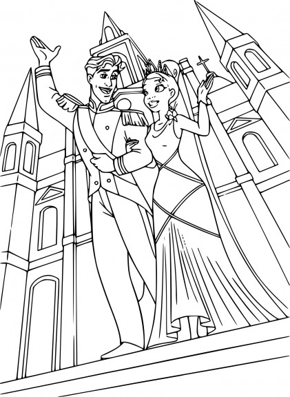 Coloriage Tiana et Prince Naveen