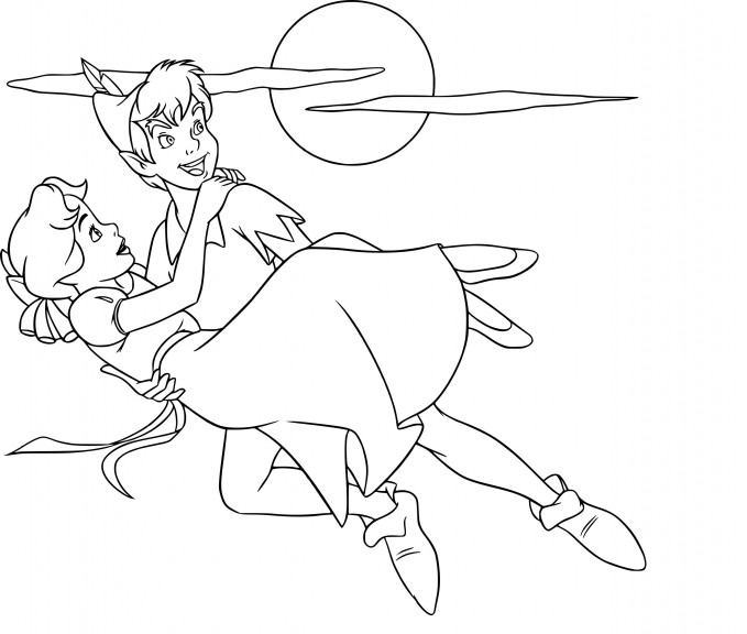 Coloriage Wendy et Peter Pan