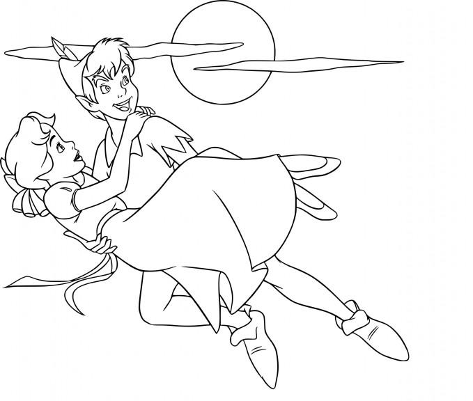 Coloriage Wendy et Peter Pan