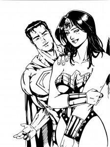 Superman et Wonder Woman coloriage