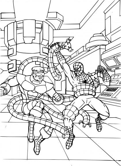 Coloriage Spiderman et Docteur Octopus