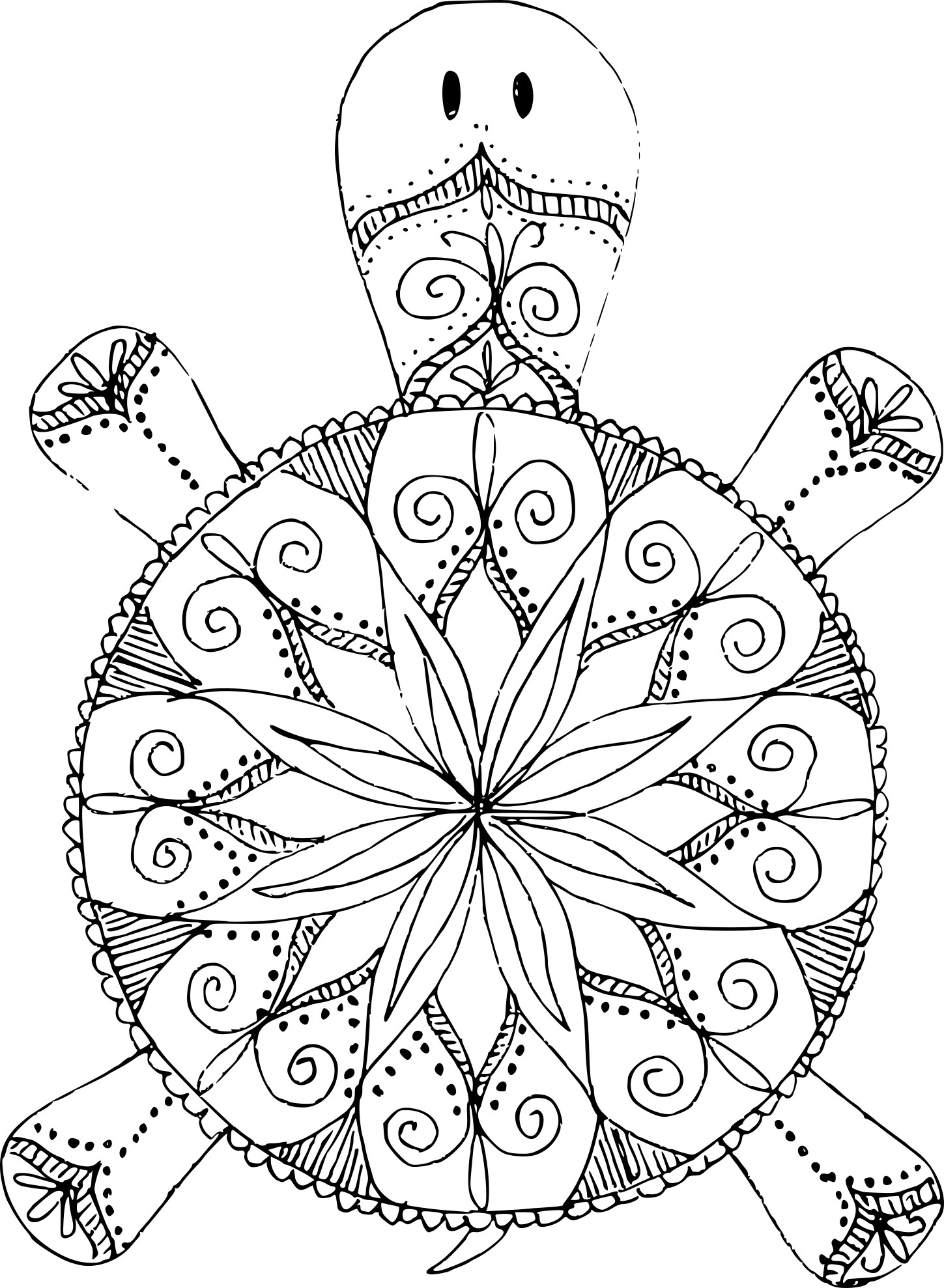 Coloriage mandala tortue