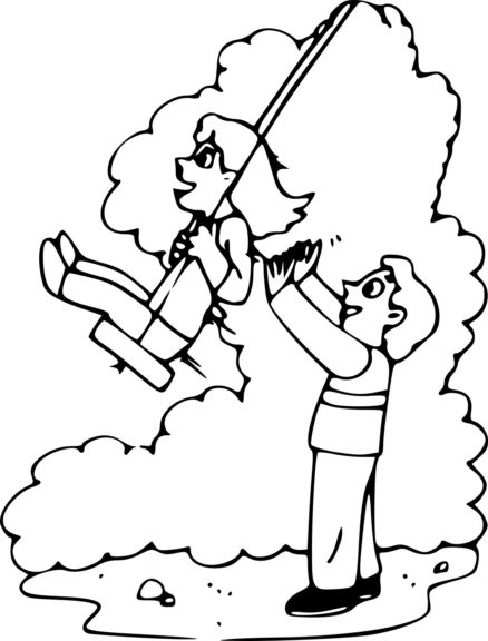 Coloriage fille et son père sur balançoire